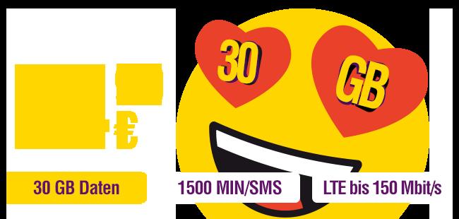 smart pro nur €14,99 mit 30 GB Daten, 1500 MIN/SMS, LTE bis 150 Mbits/s und Datenmitnahme