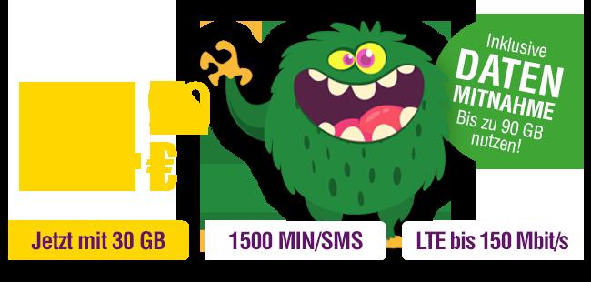 Beim smart pro bekommst du 30 GB Daten, 1500 MIN/SMS, LTE bis 150 Mbits/s und Datenmitnahme